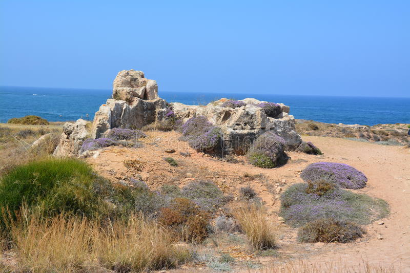 Sea-Side Landscape of Cyprus. A beach nearby Paphos on the southwestern coast of Cyprus stock photo