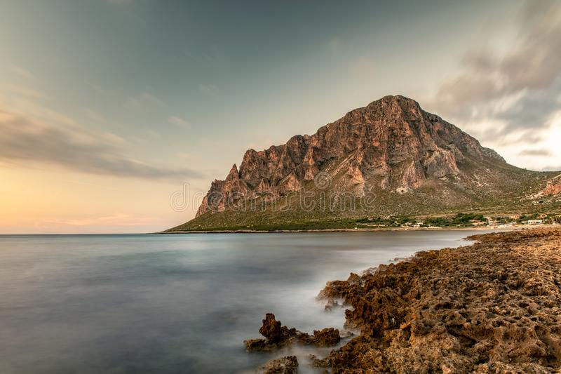 Sea side Monte Cofano Erice Trapani. Travel Concept stock photography