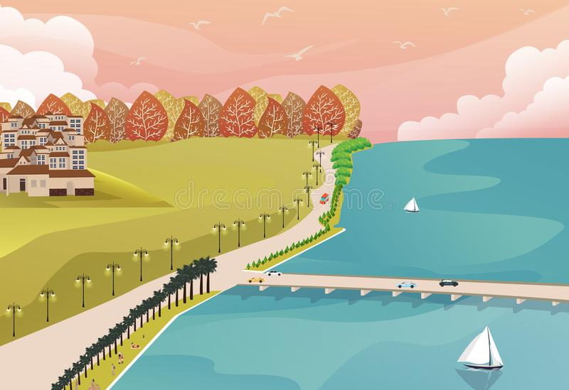 Sea side view from top with grass forest and big house on one side and long bridge road stock illustration