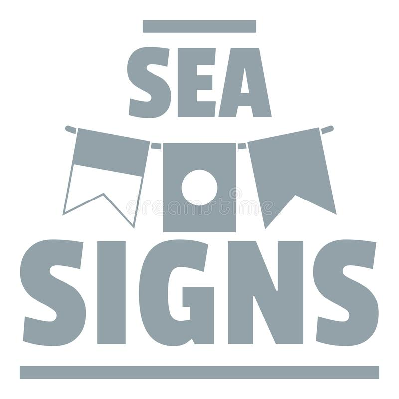 Sea signs logo, simple gray style vector illustration