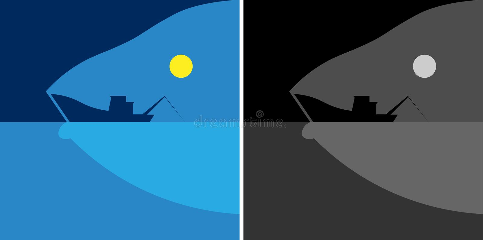 The sea, the silhouette of a fishing boat and fish, moon fresh fish minimalist logo vector illustration