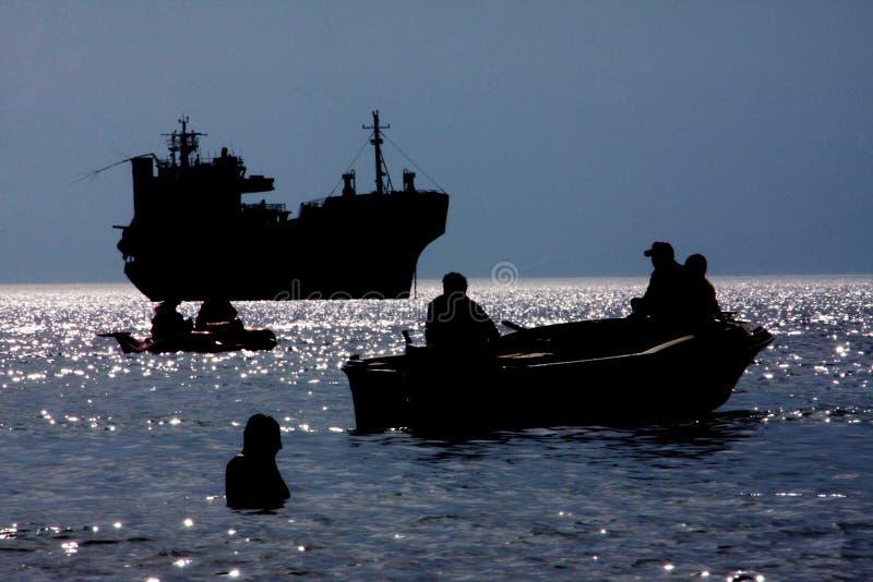 Download Sea silhouettes stock photo. Image of boats, diving, aquatics - 27206790