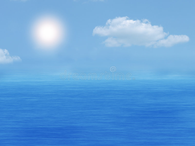 Sea and sky. Sea, sky and sun in the summer stock image