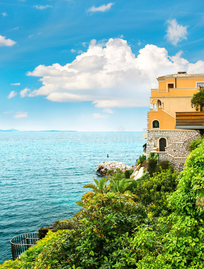 Sea and sky. Beautiful mediterranean landscape, French riviera. France, near Nice and Monaco royalty free stock image