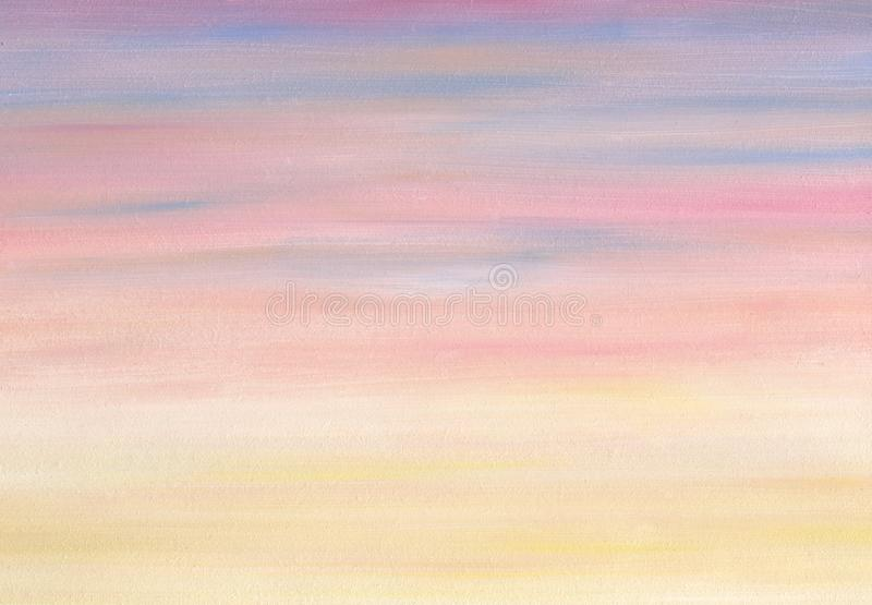 Sea sky evening gradient colors. Oil painting royalty free illustration