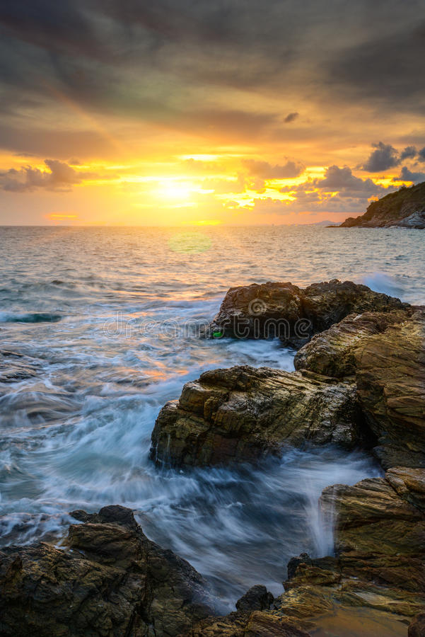 Sea and sky with lens flare stock photo