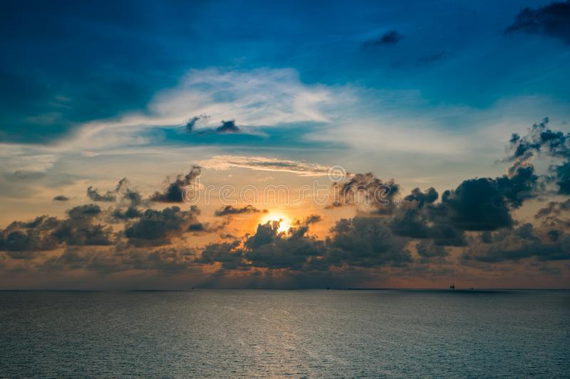Sea and sky scape at oil and gas concession in the gulf of Thailand.  royalty free stock photos