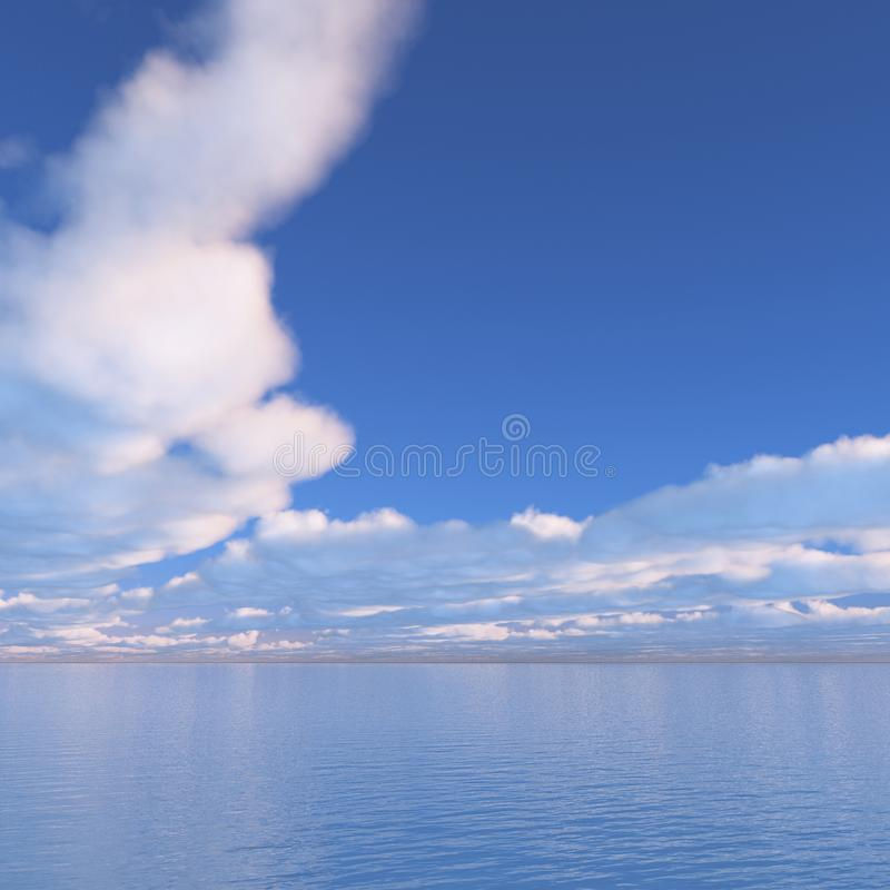 Sea Sky Scenery. Beautiful images of the sky. Heaving sea. Vast natural landscape. In the background is simple and easy to use. With 3D, CG illustration. Copy vector illustration
