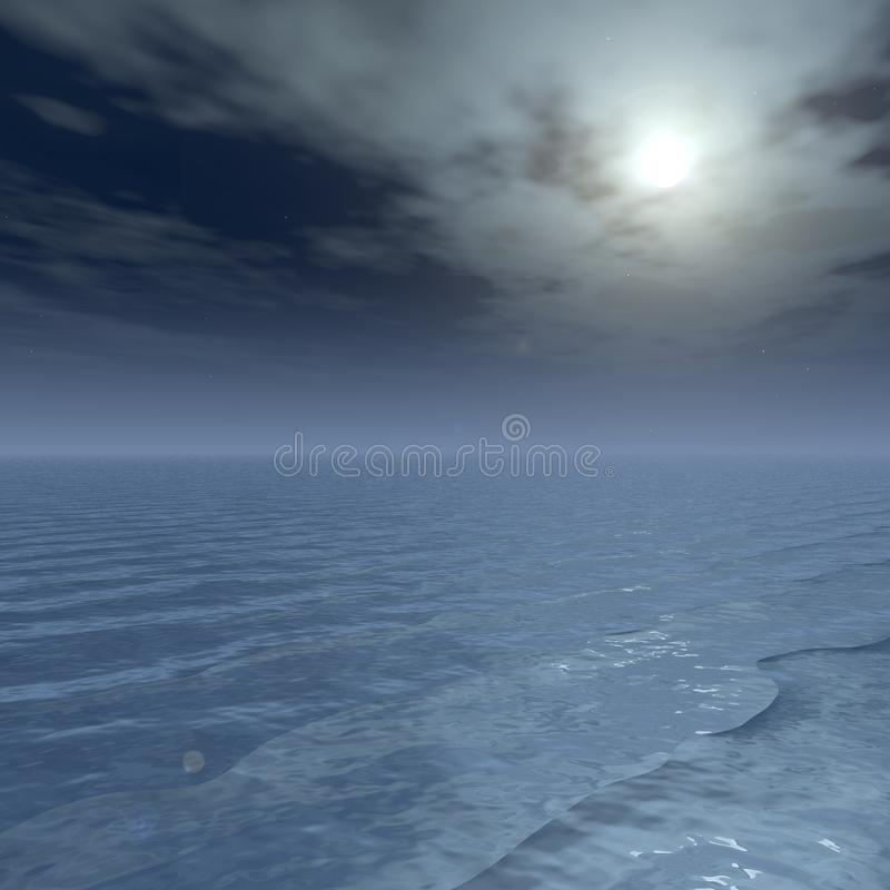 Sea Sky Scenery. Beautiful images of the sky. Heaving sea. Vast natural landscape. In the background is simple and easy to use. With 3D, CG illustration. Copy stock illustration