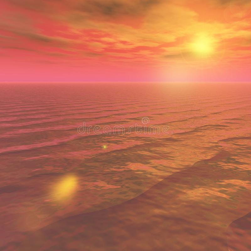 Sea Sky Scenery. Beautiful images of the sky. Heaving sea. Vast natural landscape. In the background is simple and easy to use. With 3D, CG illustration. Copy royalty free illustration