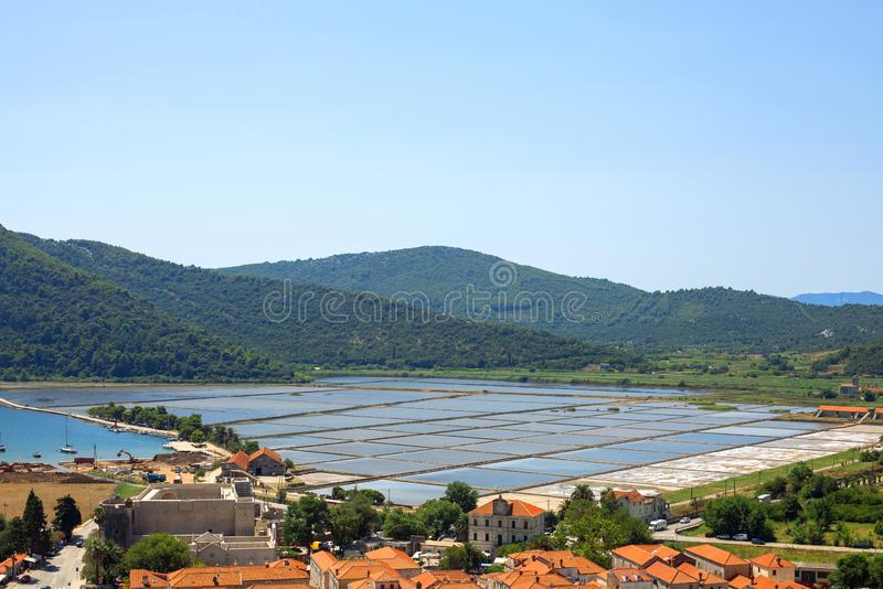 Sea slat manufacture in Ston town, Croatia. Slat pans in Ston town, Croatia stock photography