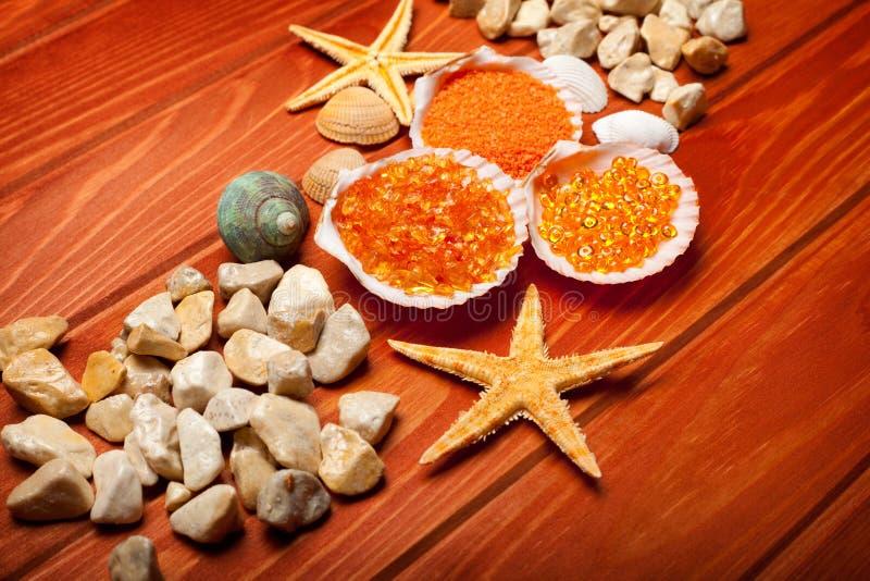 Sea Spa - Bath Salt And Sea-shell Stock Image