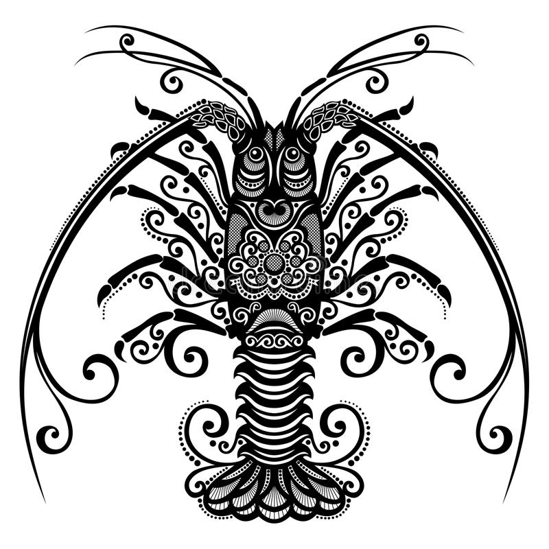 Sea spiny lobster. Vector Sea Spiny Lobster. Patterned design royalty free illustration