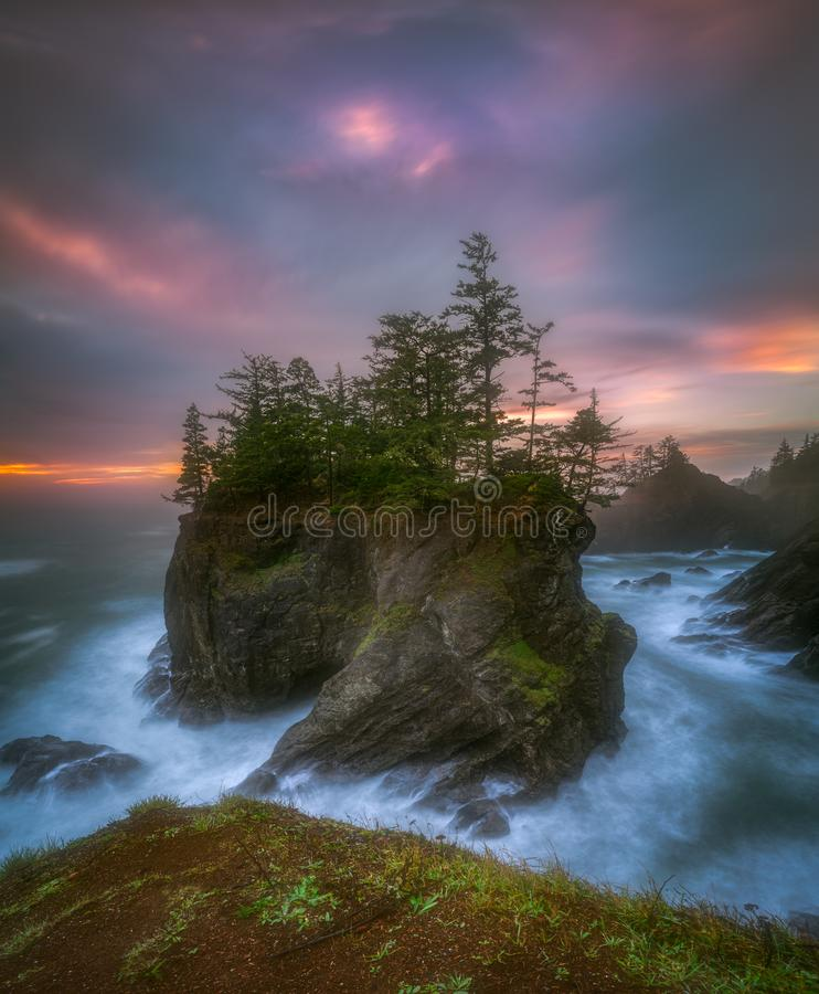 Sea stack with trees of Oregon coast. This is a photograph of a big sea stack with trees of Oregon coast taken at sunset hour stock photo