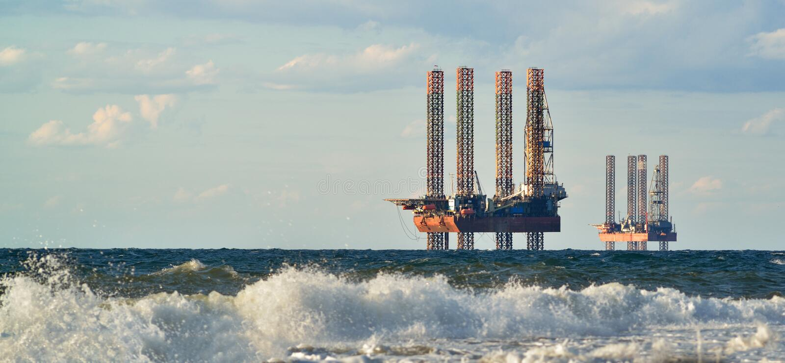Sea station of gas production in the sea royalty free stock images