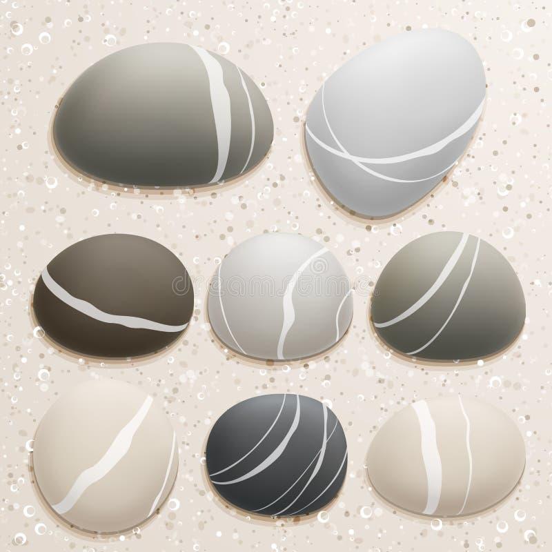 Sea stones collection on sand background. Vector illustration stock illustration