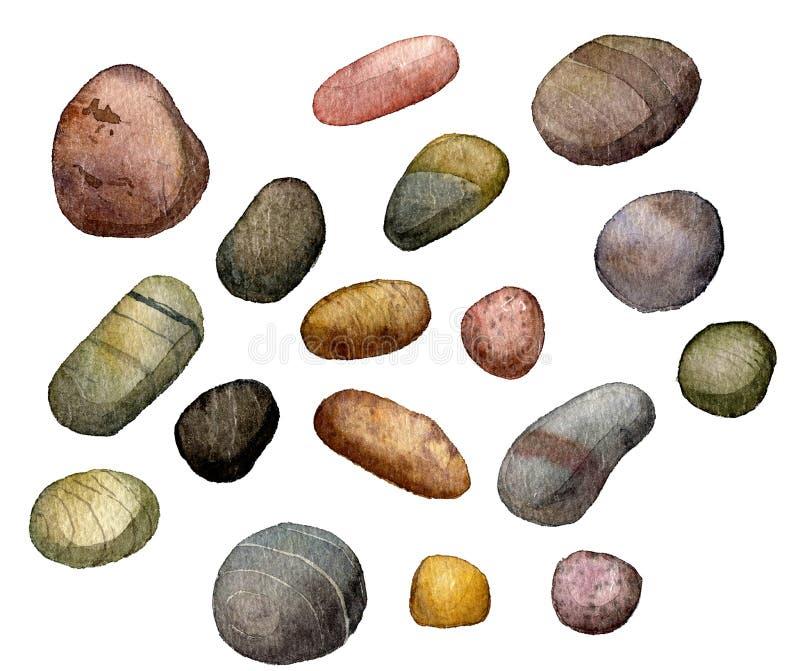 Sea stones drawing in watercolor vector illustration