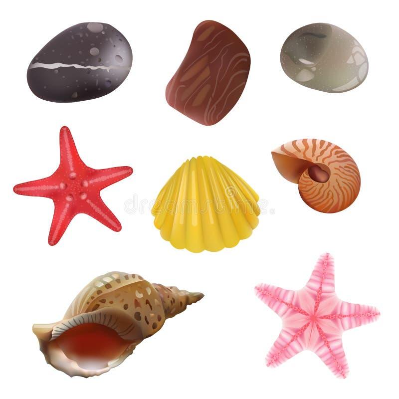 Sea Stones, Sea Shells, Starfish. Realistic Objects. Vector Set Icons. Eps 10 stock illustration