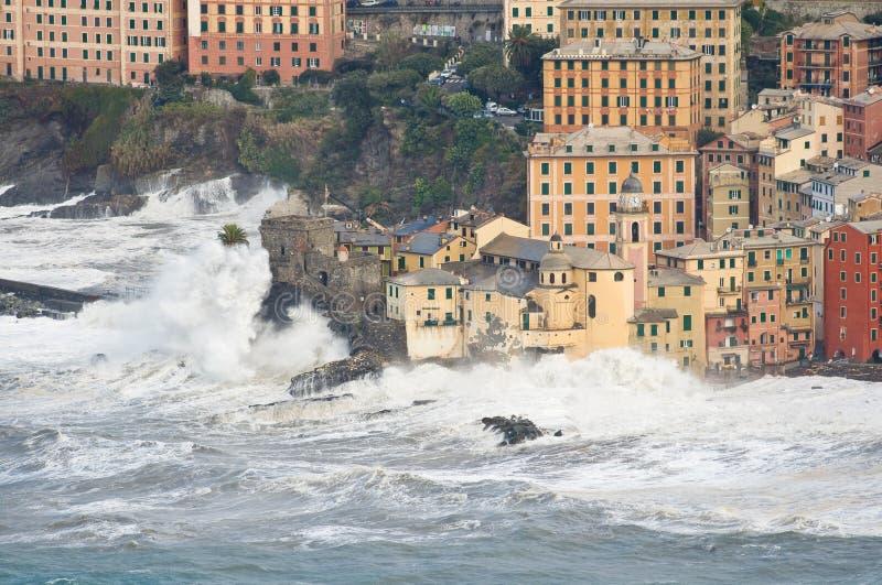 Sea storm in Camogli, Italy stock photos