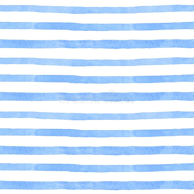 Sea strip watercolor hand painted seamless pattern. Blue Sea background. vector illustration