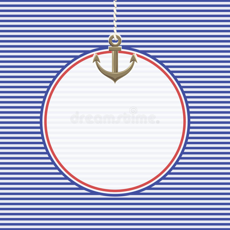 Sea striped background with anchor royalty free stock images