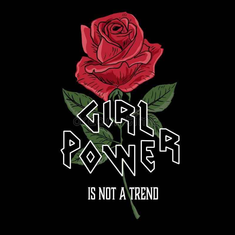 Sea su lema de la mujer del uno mismo, color de rosa y tipografía, gráfico de la camiseta, diseño impreso Impresión de la camiset ilustración del vector