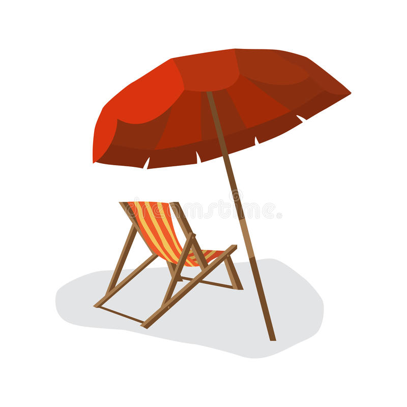 Sea summer beach, sun umbrellas, beach beds isolated with shadow royalty free illustration