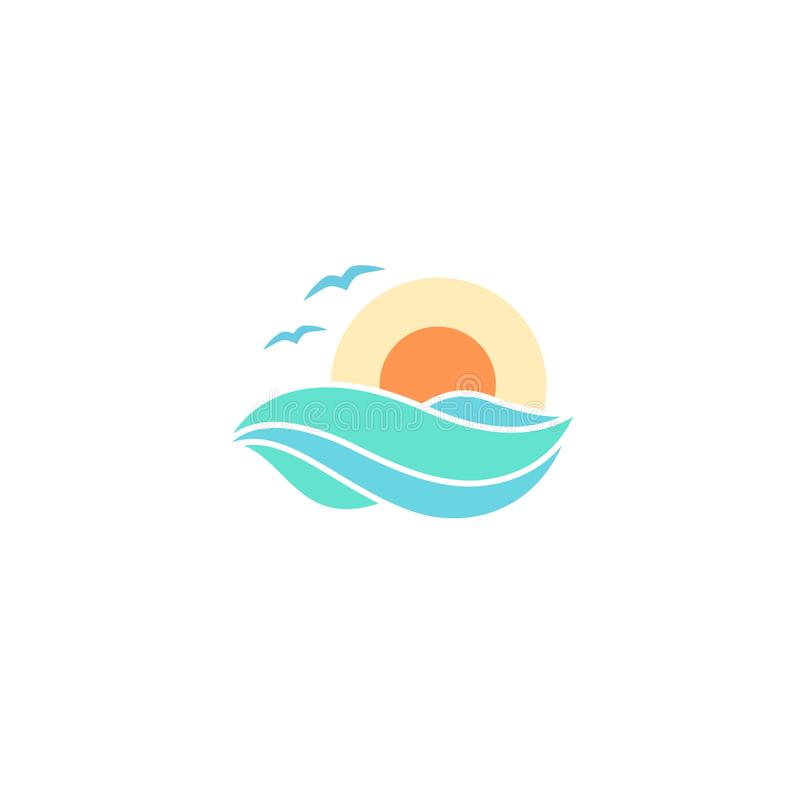 Sea and sun flat logo design royalty free illustration