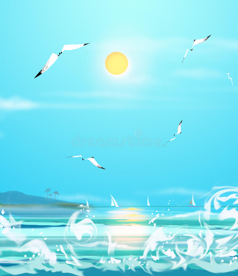 Download Sea sunny day stock illustration. Image of collection - 69951463