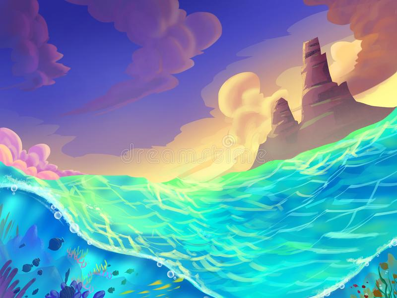 The Sea on a Sunny Day with Fantastic, Realistic and Futuristic Style. Video Game`s Digital CG Artwork, Concept Illustration, Realistic Cartoon Style Scene stock illustration