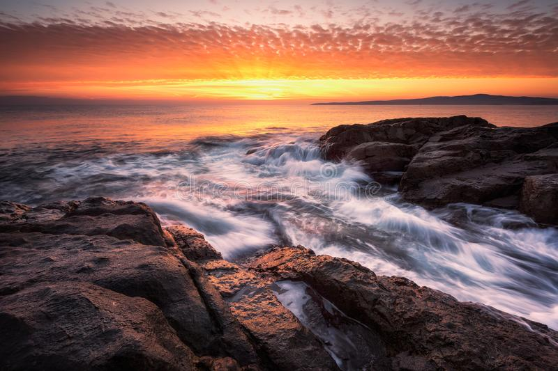 Dawn above the rocks royalty free stock image