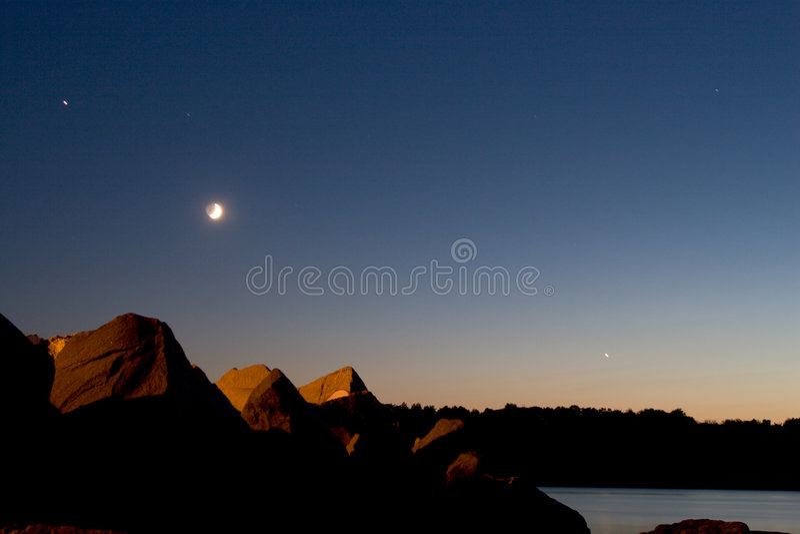 Download Sea sunset stock photo. Image of stars, summer, moon, ocean - 201968