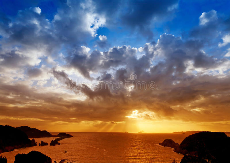 Sea sunset. Beautiful sea sunset, excellent scenery picture material stock image