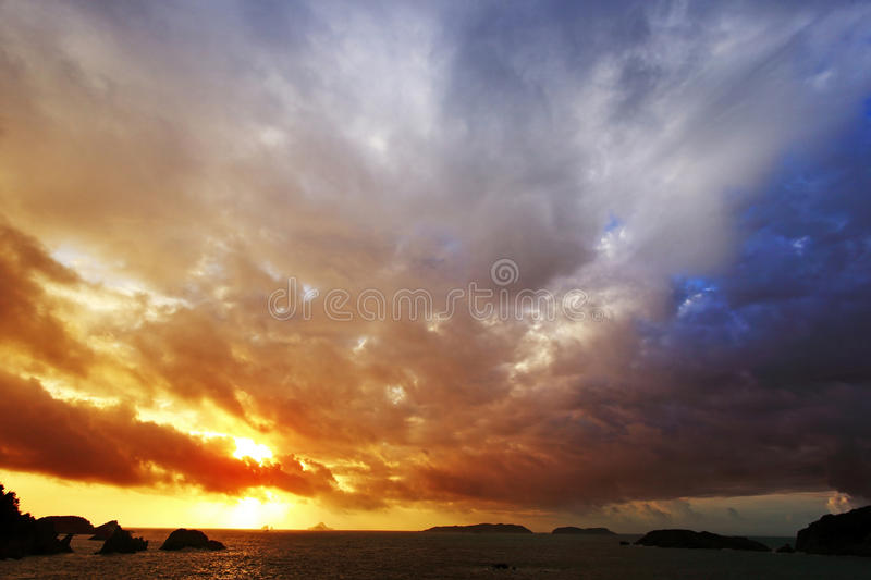 Sea sunset. Beautiful sea sunset, excellent scenery picture material stock photo