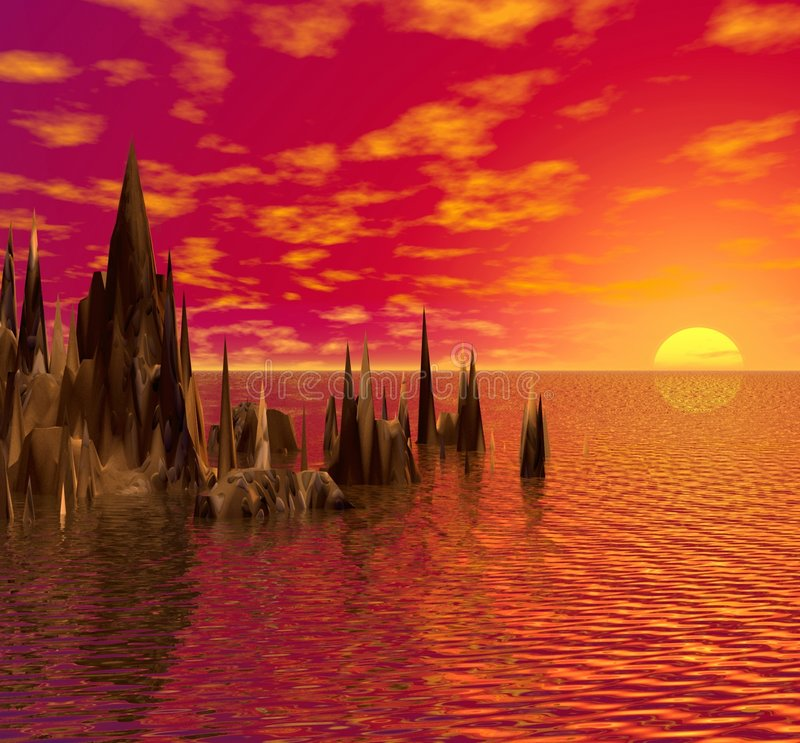 sea sunset иллюстрация вектора