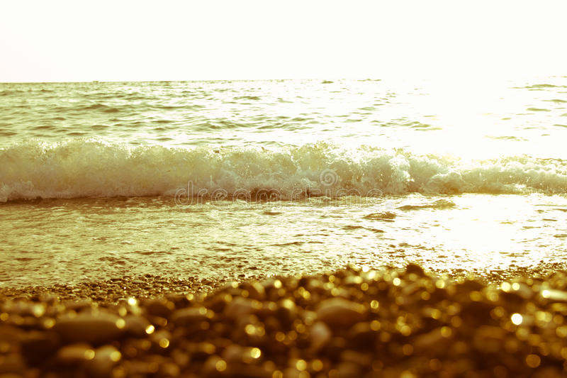 Sea at sunset. As a background of Golden sunlight royalty free stock photography
