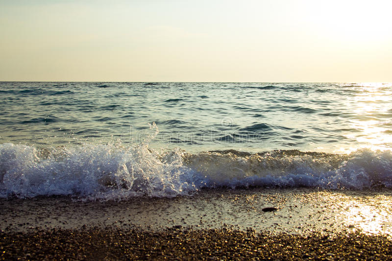Sea at sunset. As a background of Golden sunlight royalty free stock photo