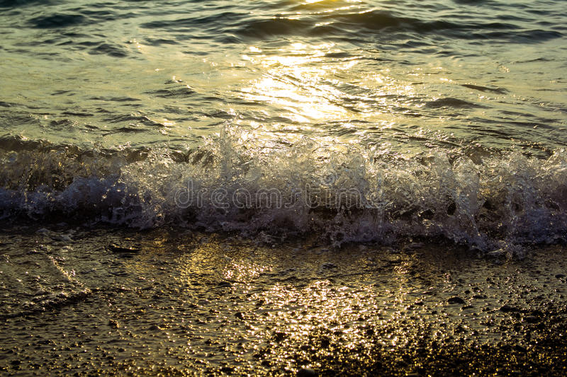 Sea at sunset. As a background of Golden sunlight stock photos