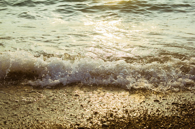 Sea at sunset. As a background of Golden sunlight royalty free stock images