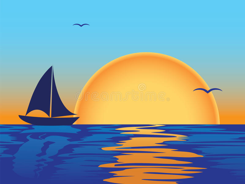 Sea Sunset With Boat Silhouette Stock Image