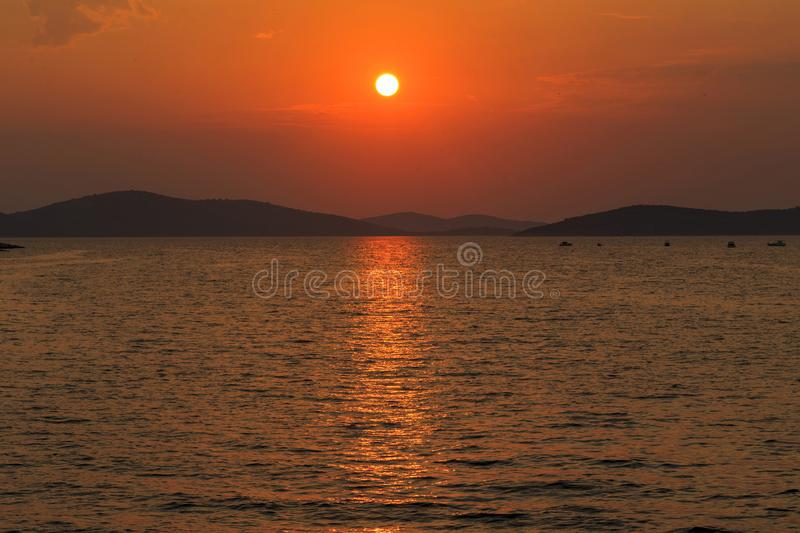 Sea sunset in Croatia royalty free stock image