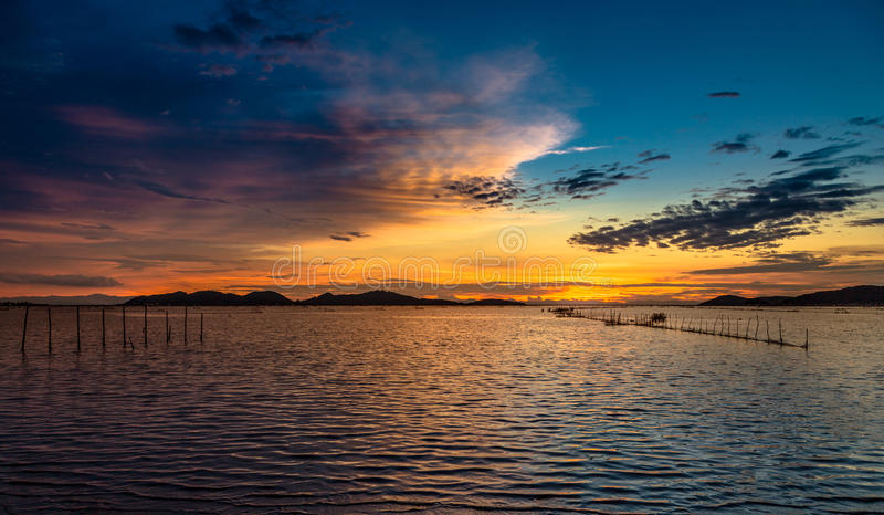 Sea at sunset royalty free stock photography
