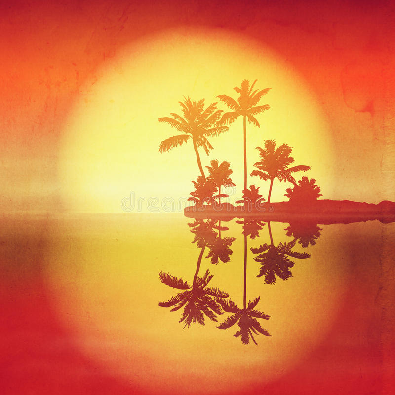 Sea Sunset With Island And Palm Trees. Stock Illustration