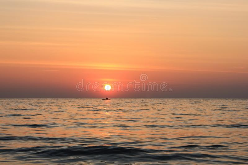 Sea and sunset royalty free stock photos