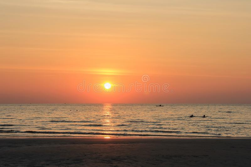 Sea and sunset stock image