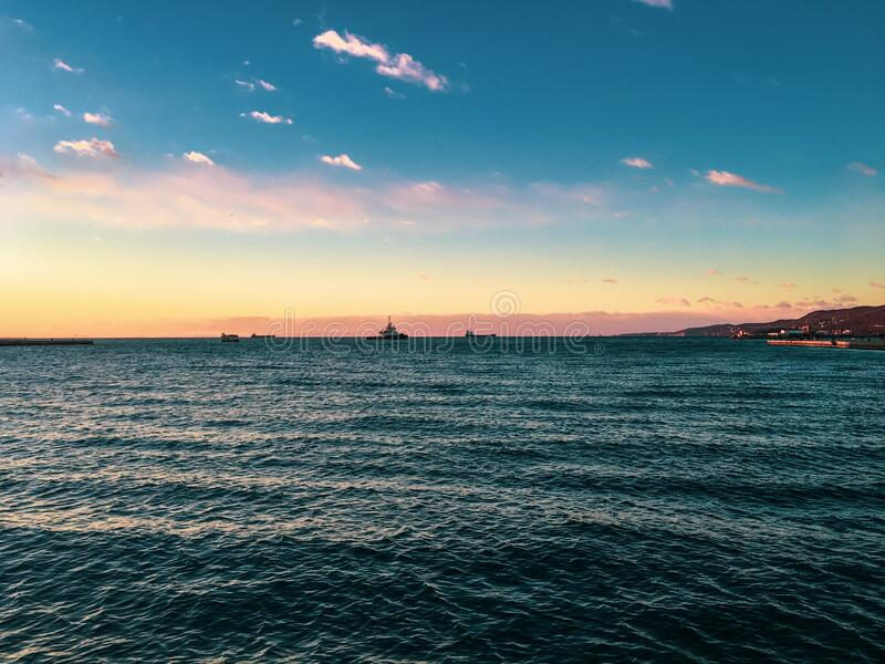 Sea sunset landscape, Trieste, Italy royalty free stock photos