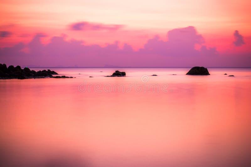 Sea sunset, long exposure in Koh Phangan royalty free stock photos
