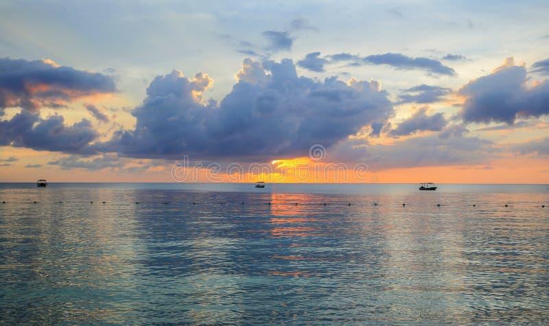 Sea Sunset on an ocean beach in the Carribean stock photography