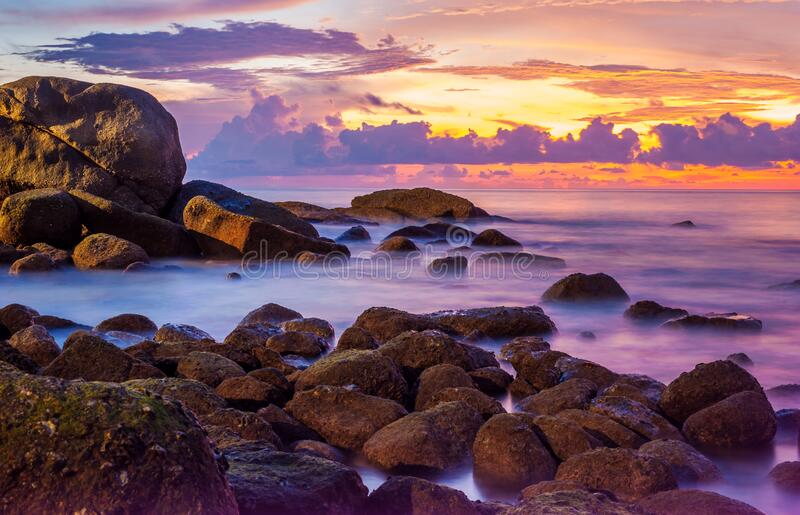 Sea sunset or sunrise with colorful of sky and cloud in twilight royalty free stock images