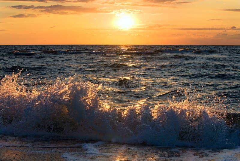 Sea sunset surf wave. Sea sunset surf great wave break on coastline stock photos